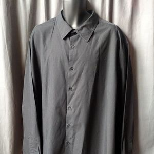 Alfani Shirts - ALFANI Big &Tall Men's Black Button Down Pinstripe